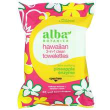 Alba Botanica Natural Hawaiian 3-in-1 Clean Towelettes Pineapple Enzyme 30 Wet Towelettes