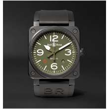 Bell & Ross BR 03 92 Military Type Automatic 42mm Ceramic and Rubber Watch, Ref. No. BR0392‐MIL CE Men Green