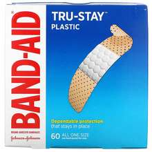 Band Aid Adhesive Bandages Plastic Strips 60 Bandages