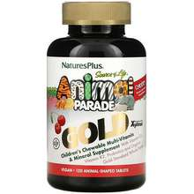 Nature's Plus Source of Life Animal Parade Gold Children's Chewable Multi-Vitamin & Mineral Supplement Natural Cherry 120 Animal-Shaped Tablets
