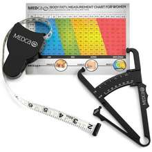 MEDca Body Fat Caliper and Measuring Tape for Body - Skin Fold Body Fat Analyzer and BMI Measurement Tool by