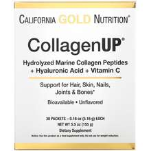 California Gold Nutrition CollagenUp Marine Hydrolyzed Collagen + Hyaluronic Acid + Vitamin C Unflavored 30 Packets 0.18 oz (5.16 g) Each