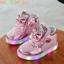 Philosophy Cats Child Luminous Sneakers 2018 New Brand Rhinestone footwear kids LED Flashing Boot for Baby girls Casual Shoes with light