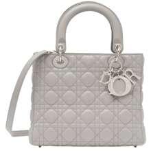 Dior Lady Dior Leather Handbags Grey Hong Kong